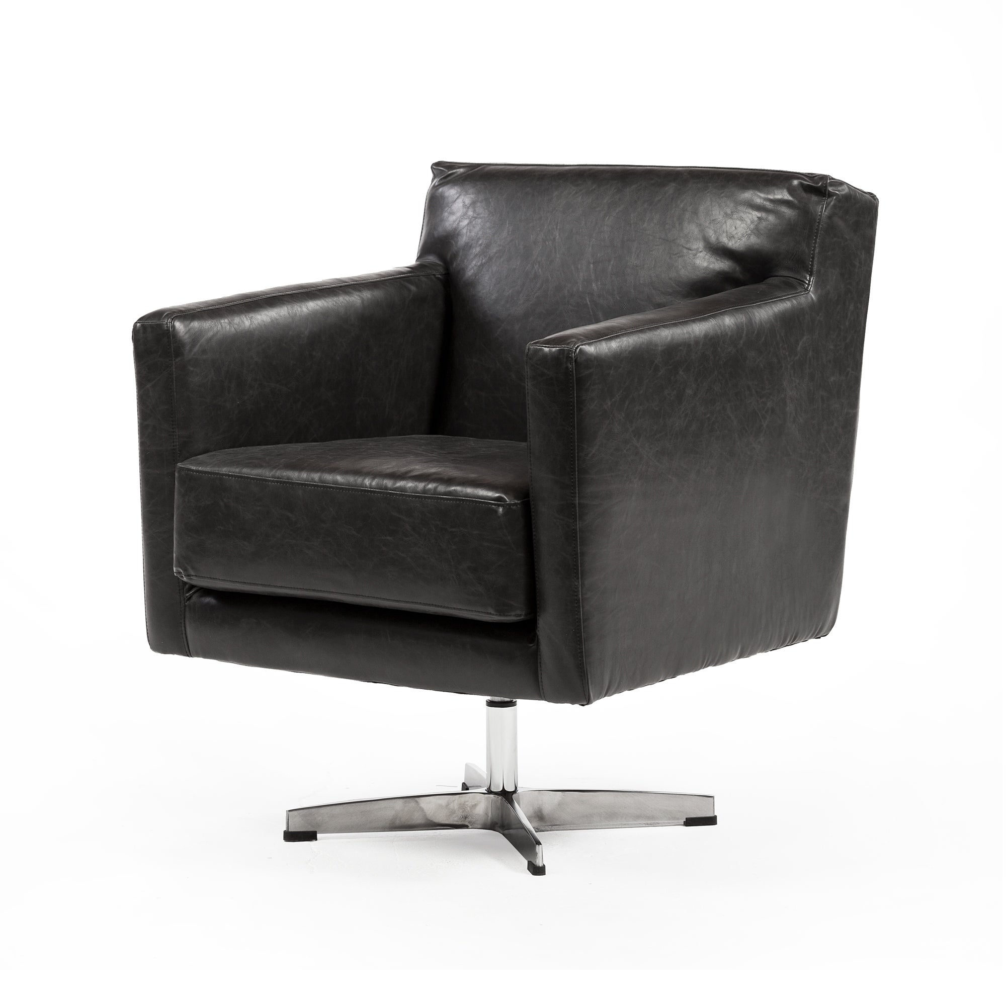 Picture of: Strick Bolton Dolan Black Leather Swivel Arm Chair On Sale Overstock 28023170