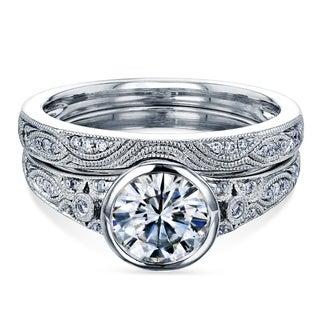 Annello By Kobelli 14k White Gold 1 1 10ct TGW Bezel Moissanite And Diamond Vintage Bridal Set Low Setting FG VS GH I