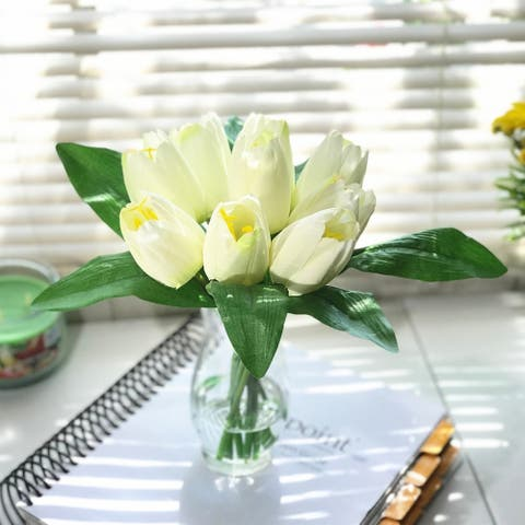 Enova Home Artificial Silk Tulips Fake Flowers Centerpiece in Clear Glass Vase with Faux Water for Home Office Decor
