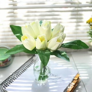 Enova Home Silk Tulips Centerpiece in Clear Glass Vase with Faux Water