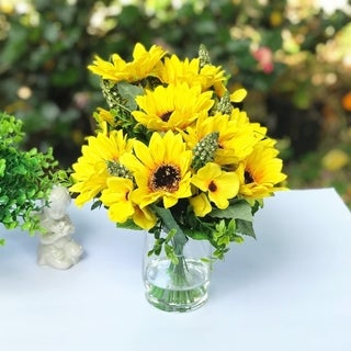 Enova Home Mixed Sunflower Silk Flower Arrangement in Clear Glass Vase with Faux Water - Yellow