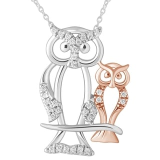 Diamond Owl Mom Child Necklace