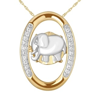 Diamond Elephant Pendant In Sterling Silver