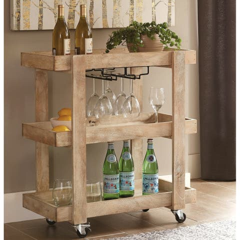 Industrial Country Design Solid Mango Wood Serving Cart