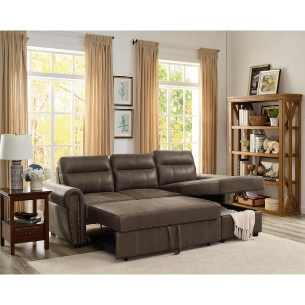 Copper Grove Bron Microfiber Reversible Sleeper Sectional Sofa