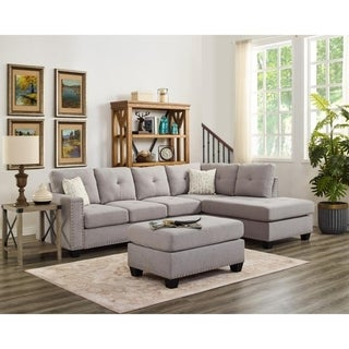 LILOLA Somerset Linen Reversible Sectional with Ottoman