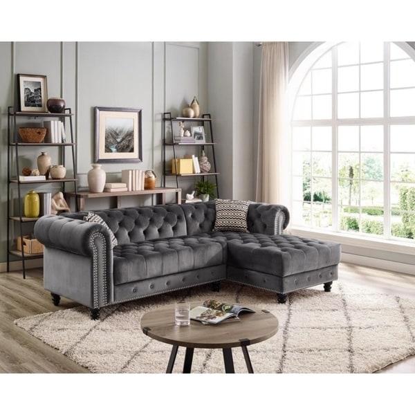 Shop LILOLA Valeria Velvet Sectional Sofa - On Sale - Free ...