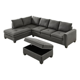 LILOLA Orchard Linen Reversible Sectional with Ottoman (Gray)