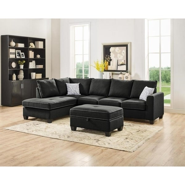 LILOLA Orchard Linen Reversible Sectional with Ottoman