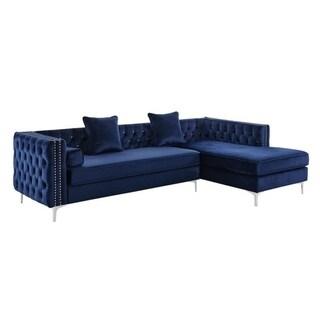 Silver Orchid Jim Velvet Sectional Sofa (Blue)
