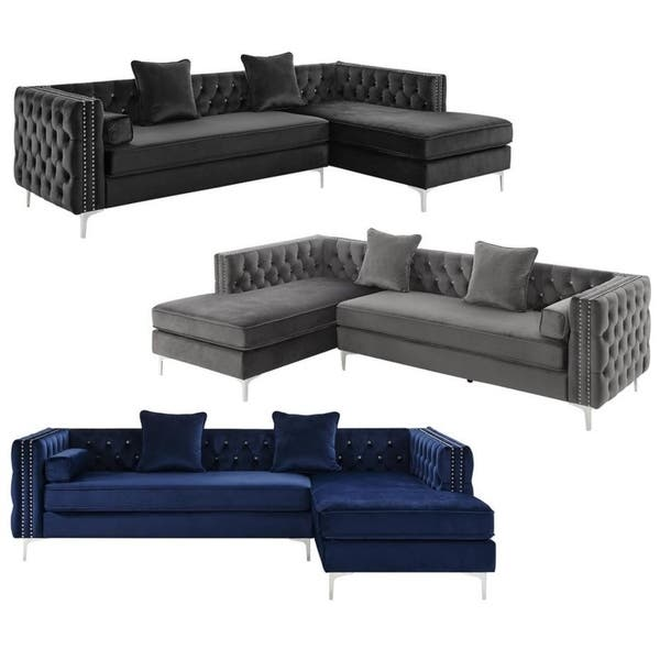 Groovy Shop Silver Orchid Jim Velvet Sectional Sofa Free Shipping Ibusinesslaw Wood Chair Design Ideas Ibusinesslaworg