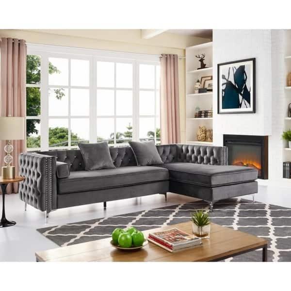 Enjoyable Shop Silver Orchid Jim Velvet Sectional Sofa Free Shipping Ibusinesslaw Wood Chair Design Ideas Ibusinesslaworg
