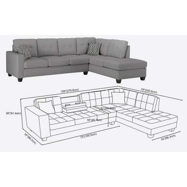 Fabulous Shop Lilola Rebecca Leatherette Reversible Sectional With Pdpeps Interior Chair Design Pdpepsorg