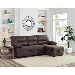 LILOLA Kipling Microfiber Reversible Sleeper Sectional Sofa