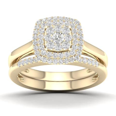 1/2 CT. T.W. Cushion Cluster Diamond Double Halo Bridal Set with two Pink Sapphire in 10K Yellow Gold