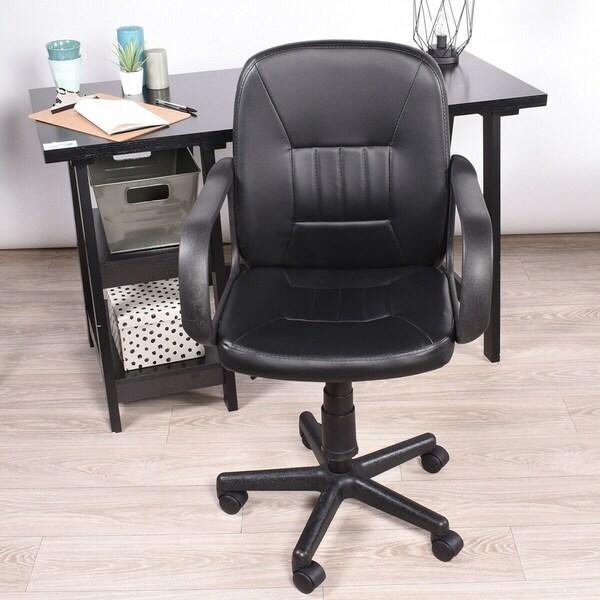 FurnitureR Ergonomic Office Task Chair Swivel PU Leather Black