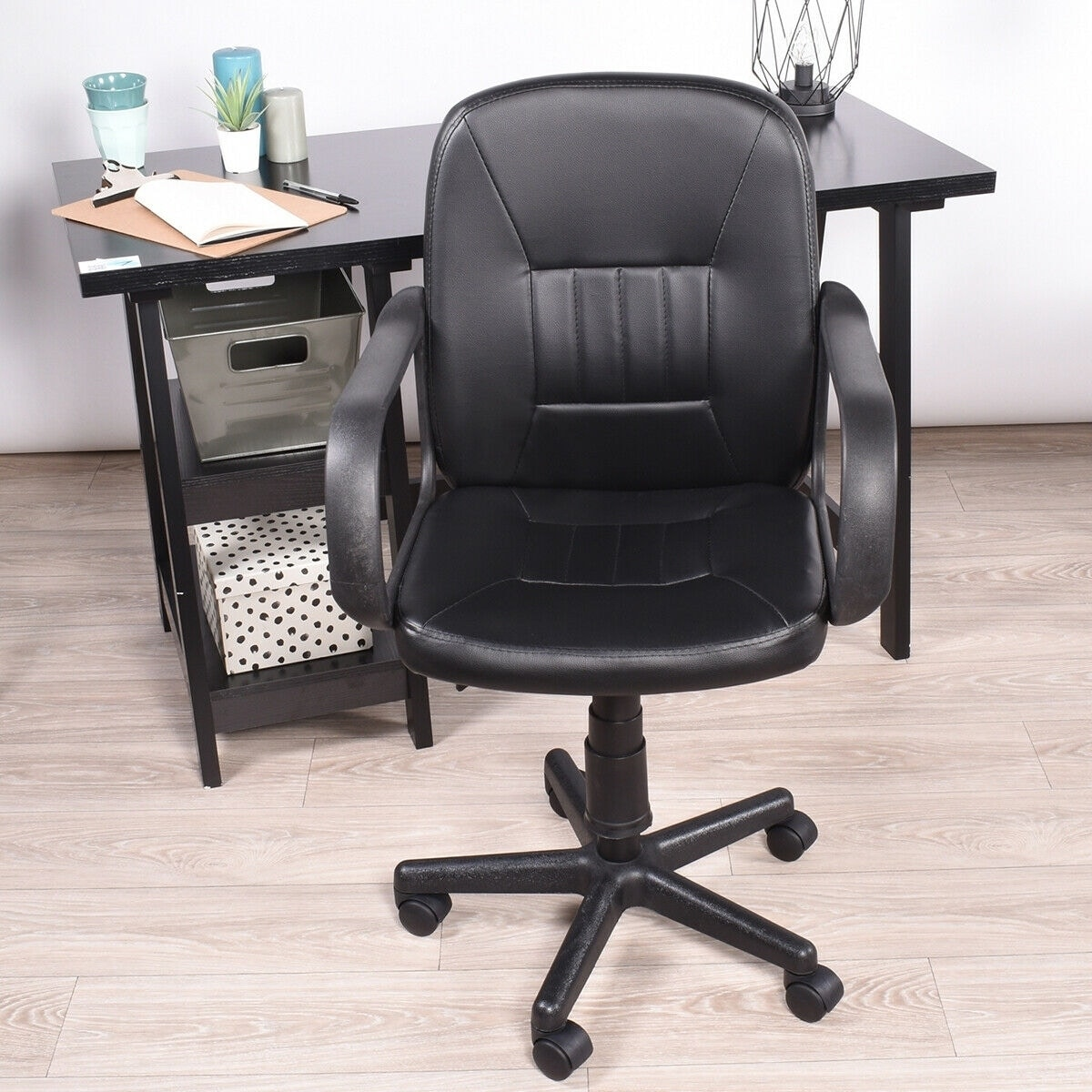 FurnitureR Ergonomic Office Task Chair Swivel PU Leather Black (Black - Faux Leather - Modern & Contemporary)