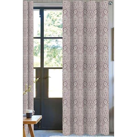 Damask Designer Drapery Panel Set of 2, Purple, 100% Organic Cotton