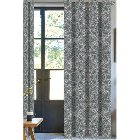 100% Organic Cotton Drapery Panel Set of 2, Green/ White