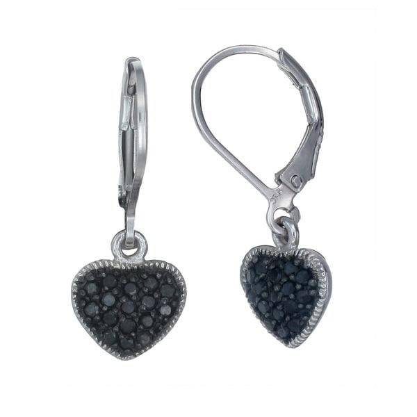 Sterling Silver Black Diamond Heart Earrings (1/3 CT). Opens flyout.