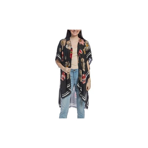Floral Printed Beach Swimsuit Cover-up Lightweight Viscose Kimono for Woman