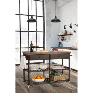 Casselberry Brown Walnut Wood and Steel Mobile Kitchen Cart