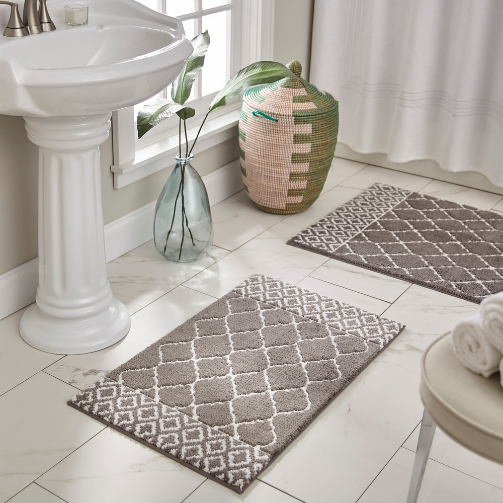 3 Piece Geometric Wave High Pile Bathroom Set Contour Rug /& Lid Cover Turquoise