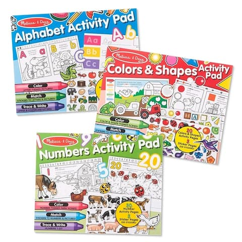 Activity Pad Bundle - Alphabet, Colors & Shapes & Numbers