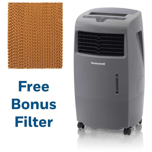 Honeywell 500 CFM Indoor/Outdoor Evaporative Air Cooler in Gray with Remote Control and an Extra Honeycomb Filter