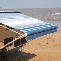 ALEKO Vinyl Retractable RV or Home Patio Canopy Awning 12'X8' Blue Striped