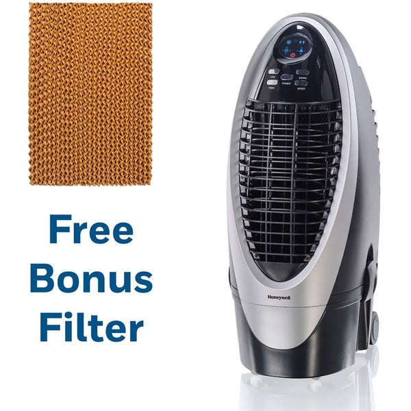 Honeywell 300 CFM Indoor Evaporative Air Cooler in Silver/Gray with Remote Control and an Extra Honeycomb Filter