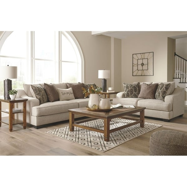 Shop Heukelum Sofa Amp Loveseat Set W 8 Pillows In Beige