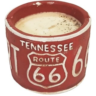 American Highway License Plate TN White Peach and Clove Round Candle
