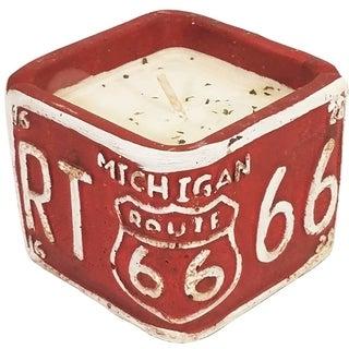 American Highway License Plate MI Vanilla Pound Cake Square Candle