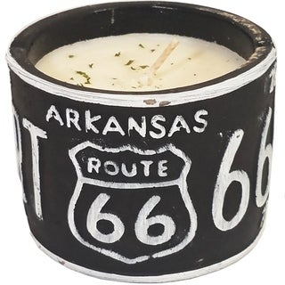 American Highway License Plate AR Roasted Espresso Round Candle