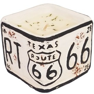 American Highway License Plate TX White Peach and Clove Square Candle