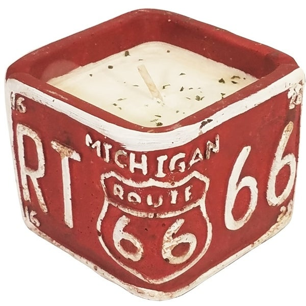 American Highway License Plate MI White Peach and Clove Square Candle
