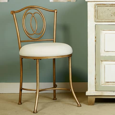 Porch & Den Rogahn Neutral Linen/Golden Bronze Finish Vanity Stool