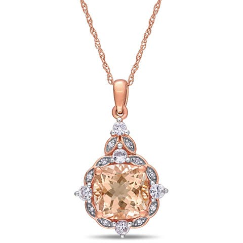 Miadora 14k Rose Gold Morganite White Sapphire and Diamond-Accent Vintage Halo Necklace