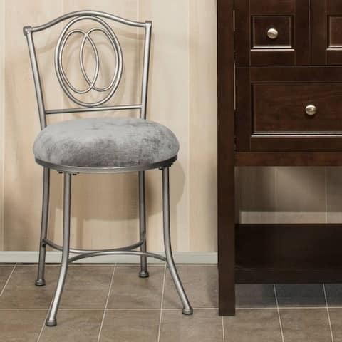 Porch & Den Rogahn Silver Uphosltery/ Pewter Finish Vanity Stool