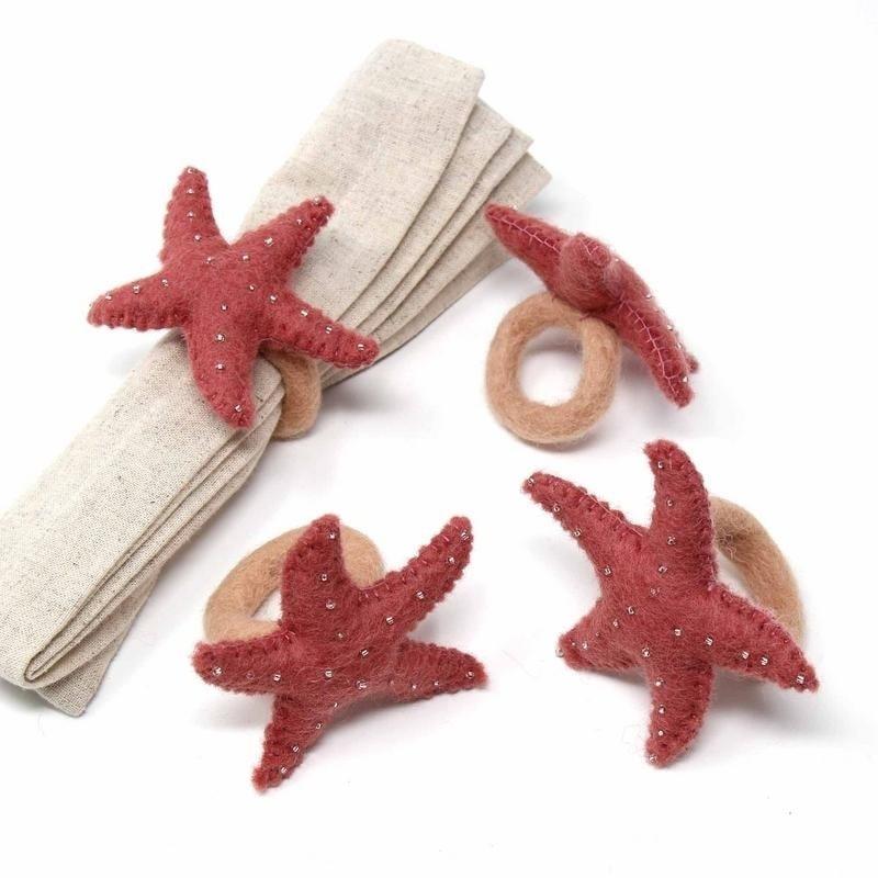 Hand-felted Starfish Napkin Rings, Set of Four Rose Quartz