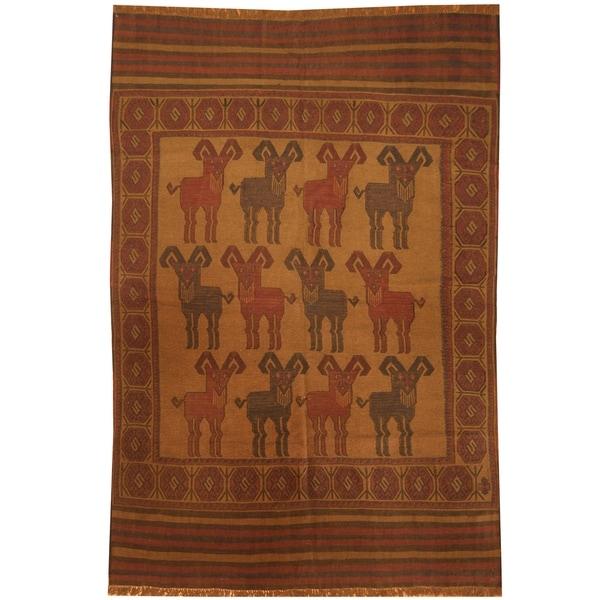 Handmade One-of-a-Kind Wool Kilim (Afghanistan) - 6' x 8'6