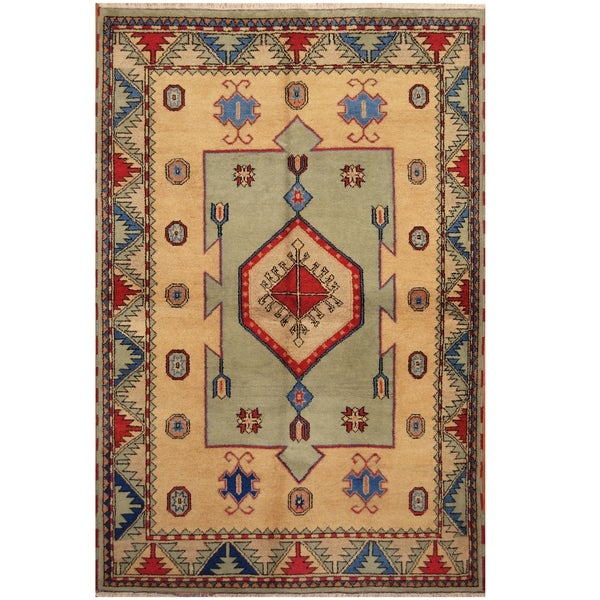Handmade One-of-a-Kind Kazak Wool Rug (India) - 6'4 x 9'9