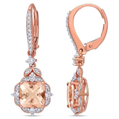 Miadora 14k Rose Gold Morganite White Sapphire and 1/6ct TDW Diamond Vintage Halo Drop Earrings