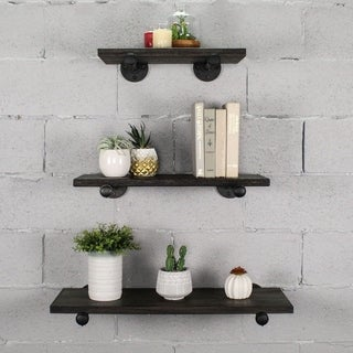 "Furniture Pipeline Louisville 18"", 24"",30"" Wide Set of 3 Wall Shelf"