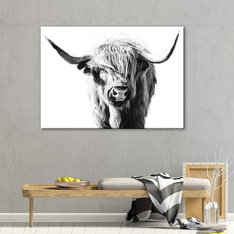 The Gray Barn Dominie Highland Cow' Animals Rectangle Gallery Wrapped Canvas