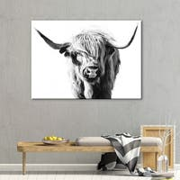 Porch & Den Dominie Highland Cow' Animals Rectangle Gallery Wrapped Canvas