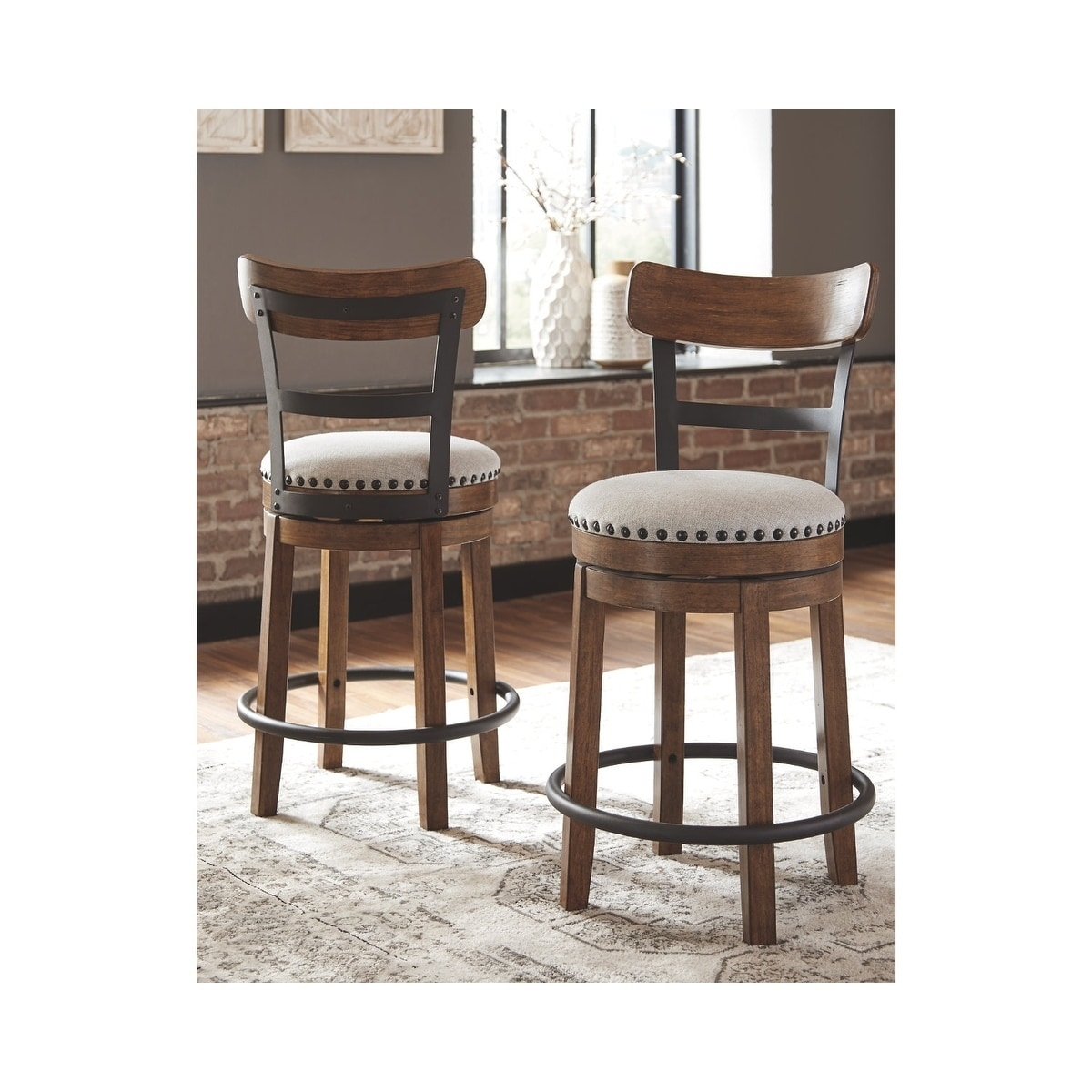 Signature Design by Ashley Valebeck Brown Counter-height Swivel Barstool