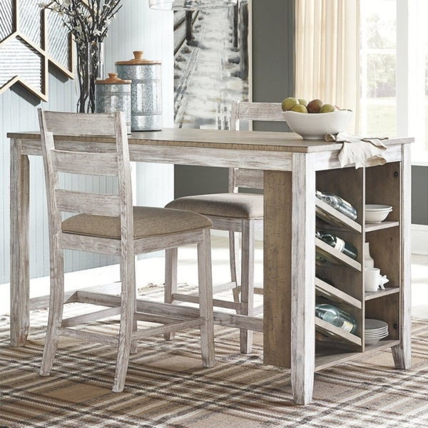 The Gray Barn Dunbeg Bay White/Light Brown Counter-height Dining Table with Storage. Opens flyout.