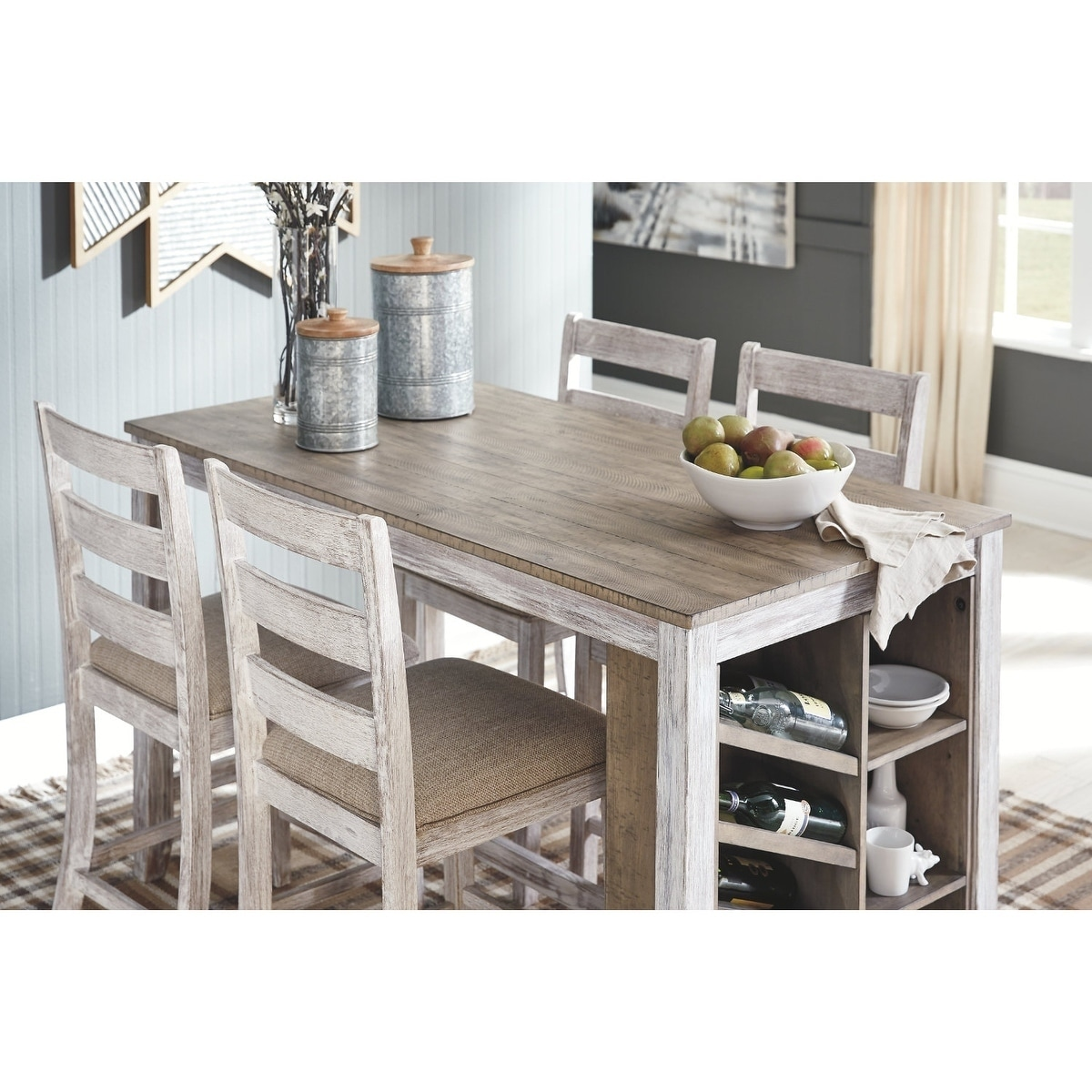 The Gray Barn Dunbeg Bay White/Light Brown Counter-height Dining Table with  Storage